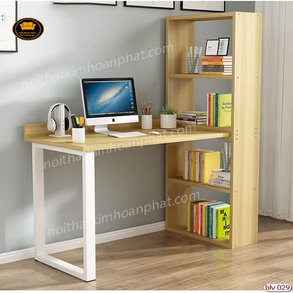 mẫu bàn học sinh có giá sách bằng gỗ