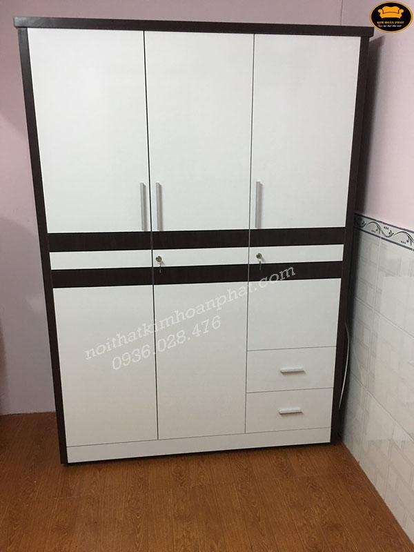 tủ đựng quần áo gỗ mdf phối màu đen trắng